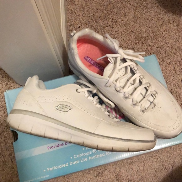 White Skechers with Air Cooled memory Foam